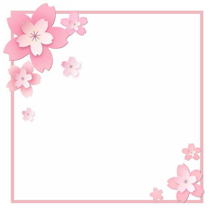 立体粉色桃花装饰的边框png图片免抠素材