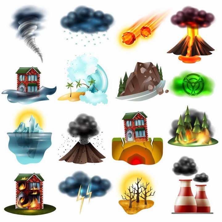 龙卷风冰雹陨石火山洪水海啸山体滑坡冰山地震森林火灾干旱等自然灾害png图片免抠矢量素材