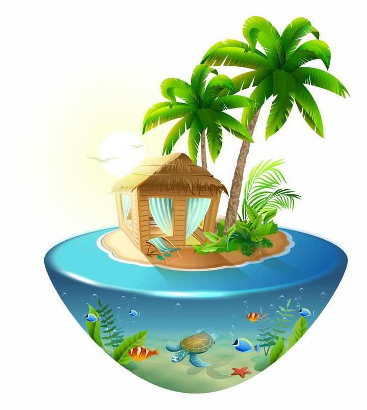 悬浮岛悬空岛风格蓝色海水上的热带海岛风景图png图片免抠eps矢量素材