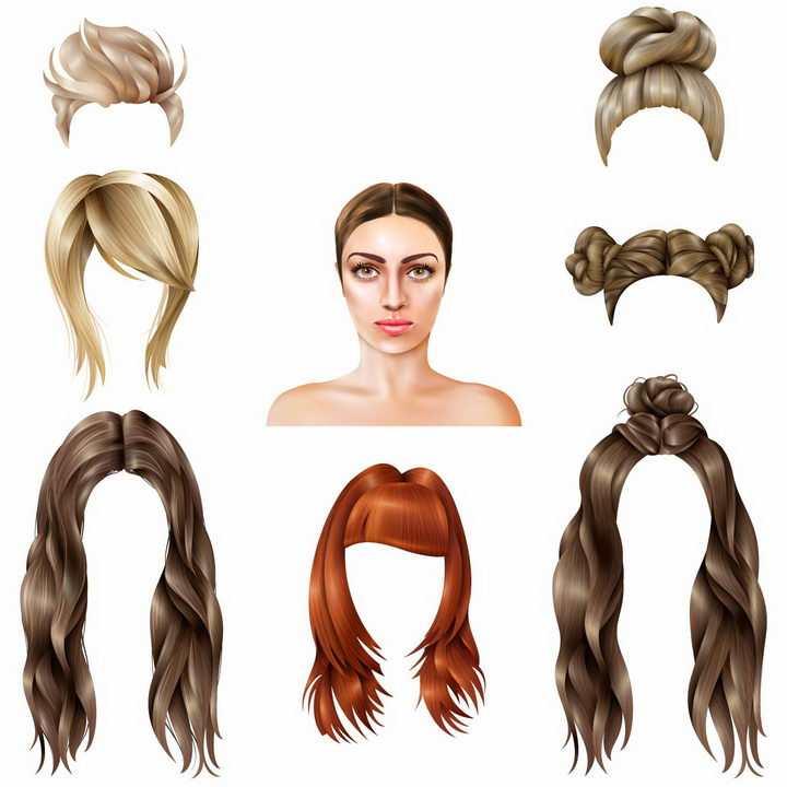 各种丸子头卷发发型png图片免抠矢量素材