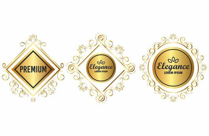 3款金色复古花纹装饰的方形和圆形背景框png图片免抠矢量素材