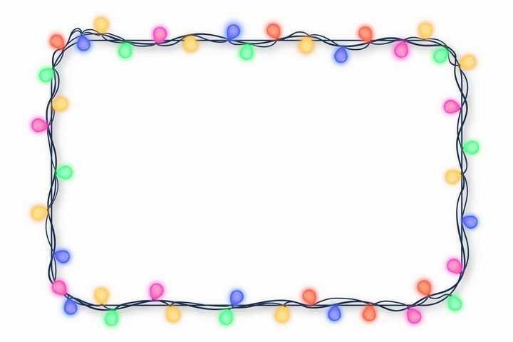 长方形黑色电线彩色灯泡装饰效果边框png图片免抠矢量素材