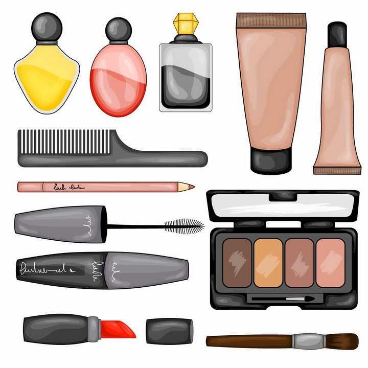 各种手绘风格香水护肤品梳子眉笔睫毛刷口红眼影盒等化妆品png图片免抠矢量素材