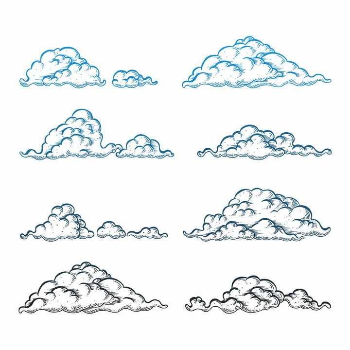 8款手绘涂鸦风格的蓝色黑色云朵乌云图案png图片免抠eps矢量素材
