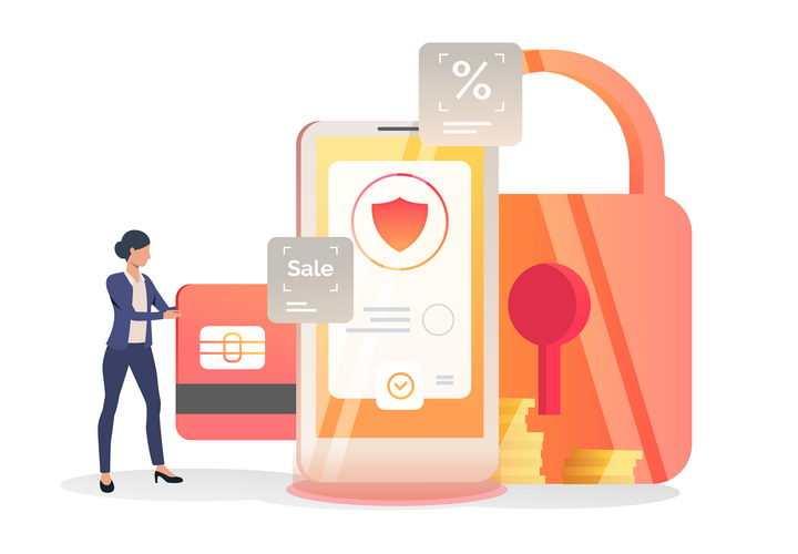 抽象风格手机上的信用卡网络交易安全png图片免抠矢量素材