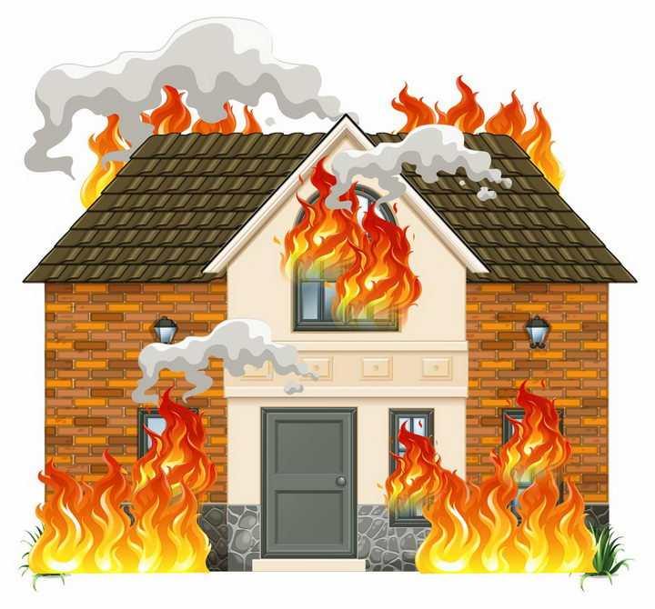 发生火灾正在燃烧的房子消防图片png免抠素材