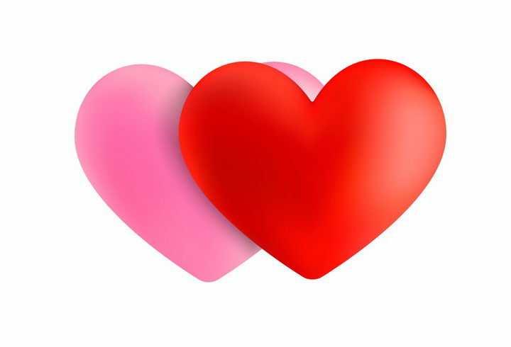 立体红心和粉红心形符号情人节png图片免抠eps矢量素材
