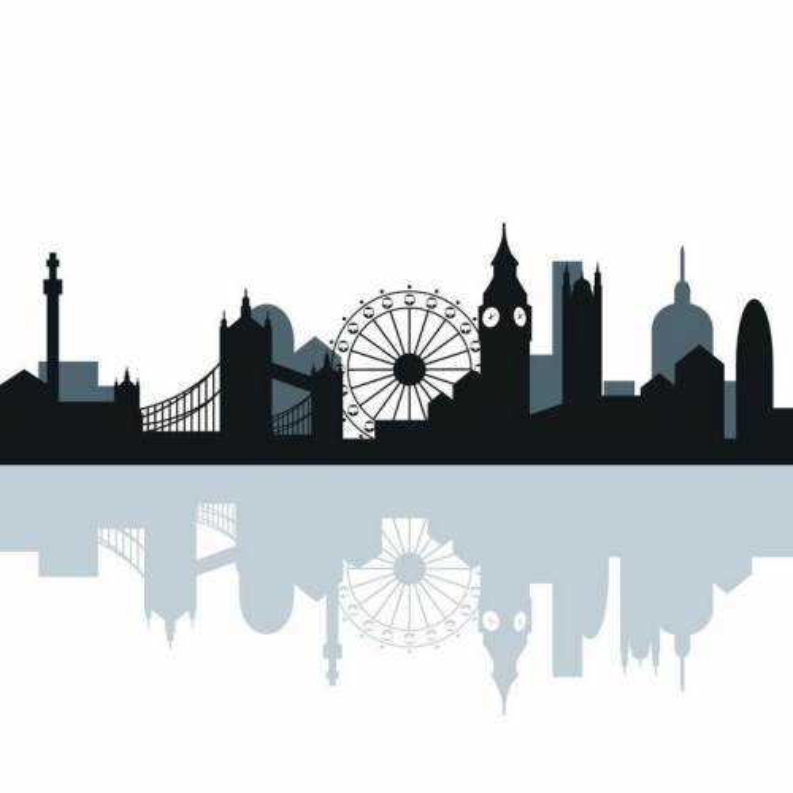 带倒影的英国伦敦知名建筑城市天际线剪影png图片免抠矢量素材
