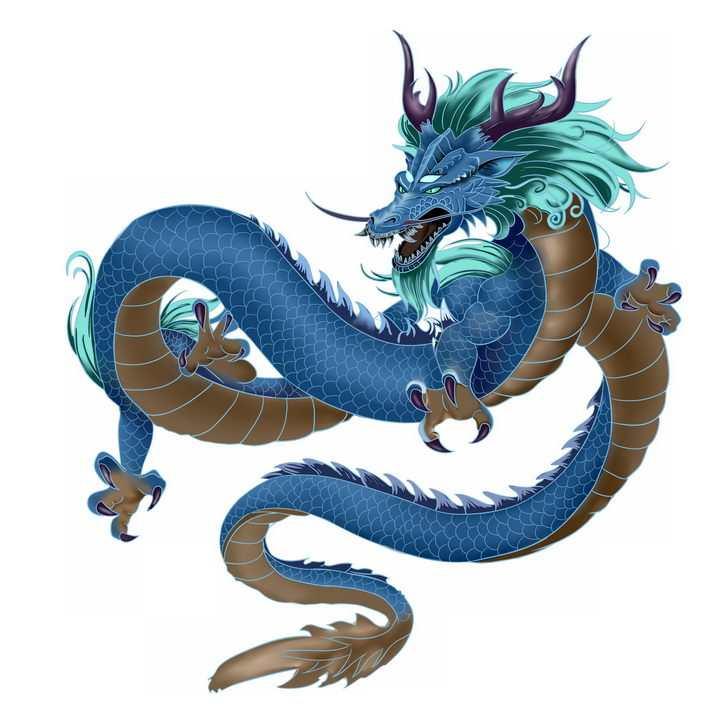 蓝色的中国传统风格的龙巨龙青龙png图片免抠素材