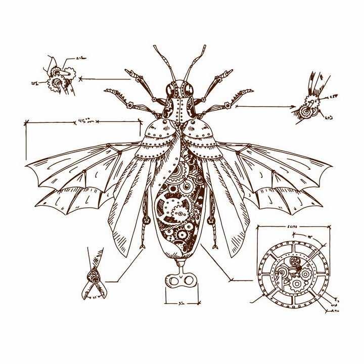 手绘素描蒸汽朋克风格齿轮等机械装置组成的昆虫png图片免抠矢量素材