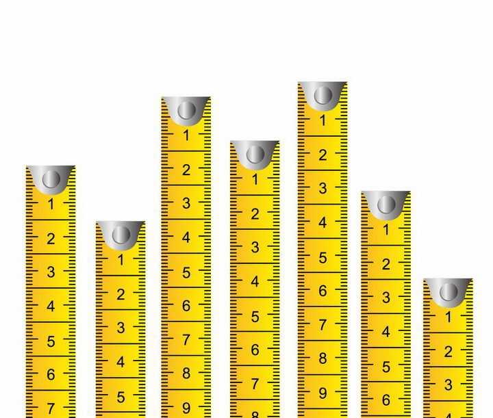 7款长短不一的黄色卷尺测量工具png图片免抠矢量素材