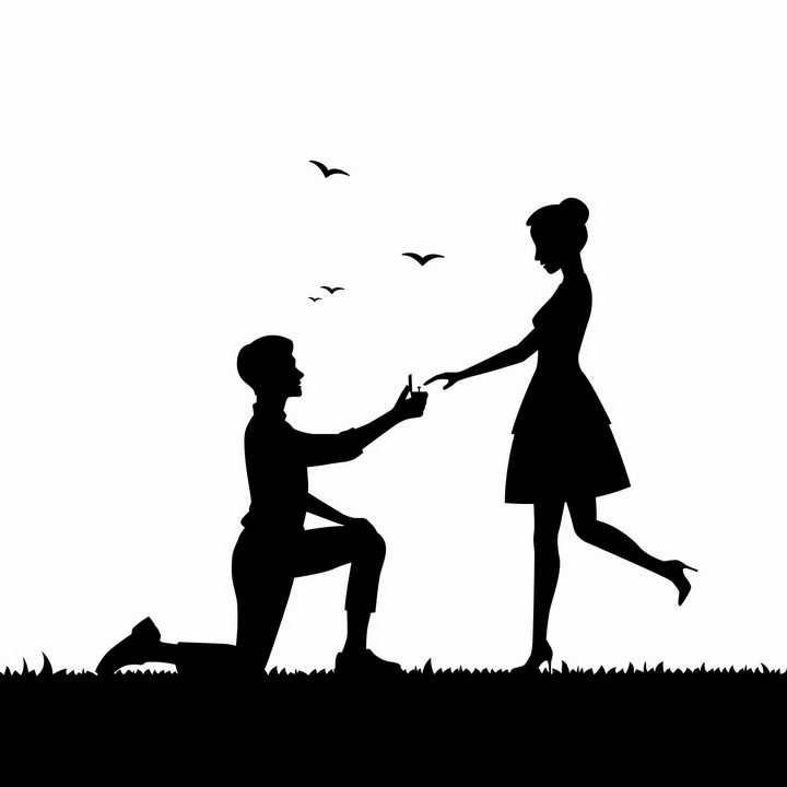 在草地上单膝下跪掏出戒指向女友求婚的男孩人物剪影png图片免抠矢量素材