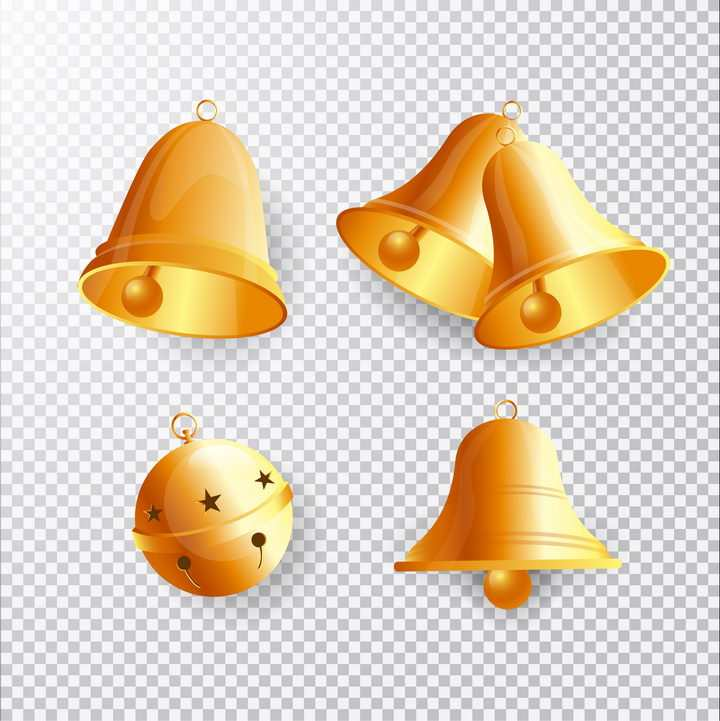 4款金色的铃铛图片免抠矢量素材