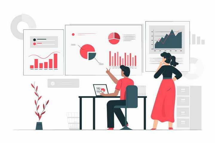 扁平插画风格坐在笔记本电脑前展示各种统计数据图表的商务人士png图片免抠矢量素材