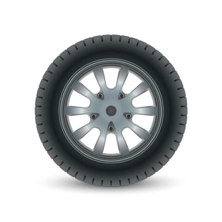 黑色的汽车轮胎侧面图和银色的金属轮毂汽车配件png图片免抠矢量素材