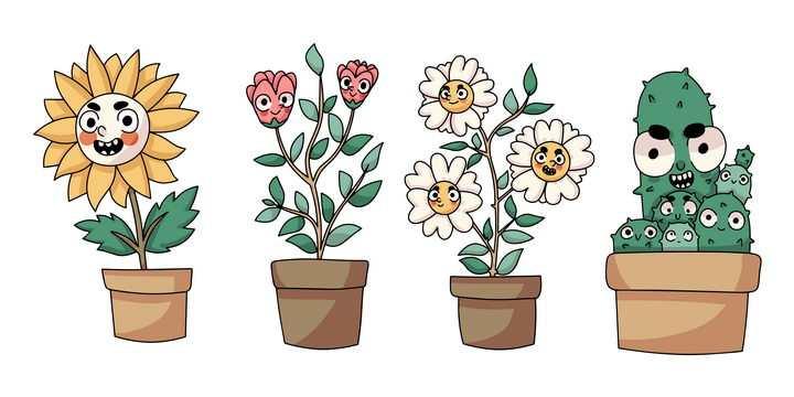 4款卡通向日葵菊花百合花仙人掌花盆等表情包图片免抠矢量素材
