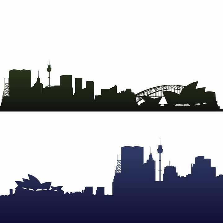 两款澳大利亚悉尼知名建筑城市天际线剪影png图片免抠矢量素材
