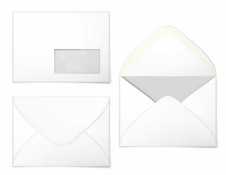 白色信封的不同角度和打开样式png图片免抠eps矢量素材