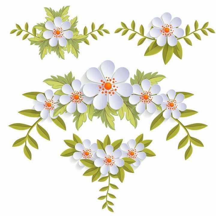 4款带有绿叶的白色花卉葱兰鲜花装饰png图片免抠eps矢量素材