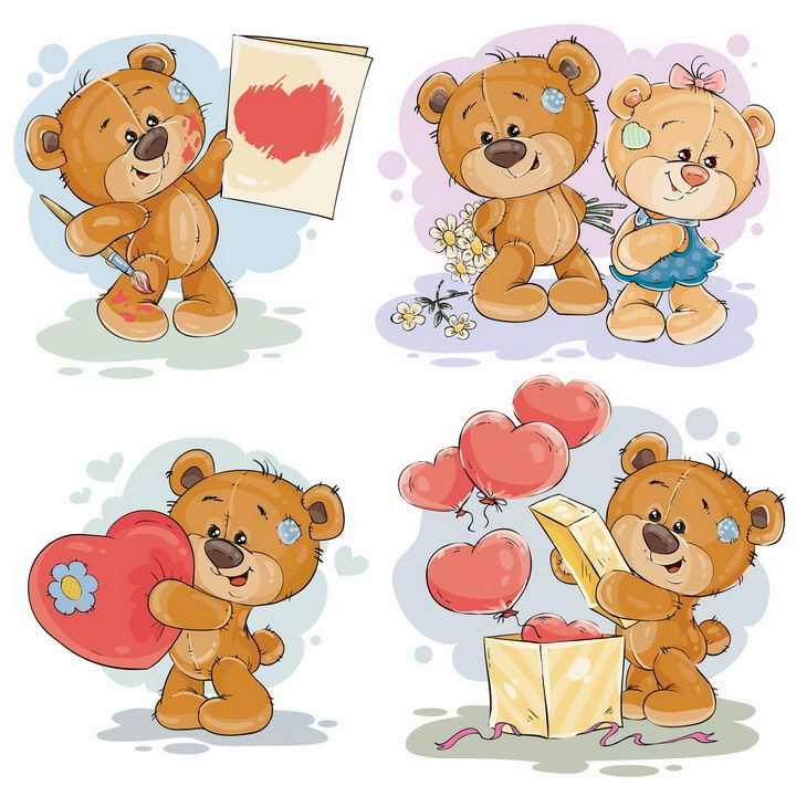 4款卡通玩具小熊和心形符号红心情人节png图片免抠eps矢量素材