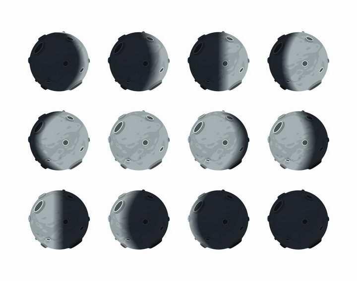 卡通月相变化图月球月亮明暗交替变化科普png图片免抠矢量素材