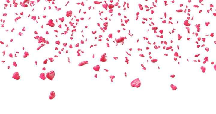 掉落的塑料风格红心心形图案装饰效果图片设计模板素材