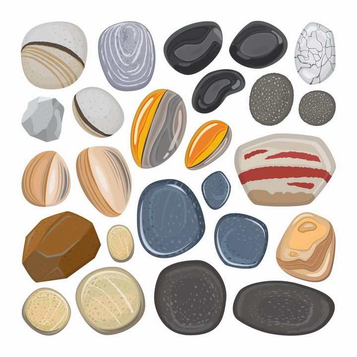 各种各样花纹的鹅卵石png图片免抠矢量素材