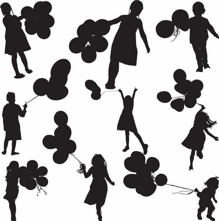 拿着气球的男孩女孩儿童剪影png图片免抠矢量素材