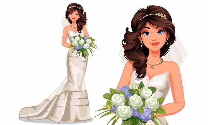 捧着白色鲜花的美丽新娘身穿白色婚纱结婚png图片免抠矢量素材