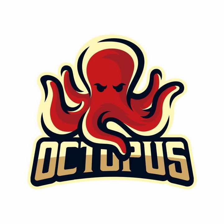 红色卡通章鱼logo设计方案png图片免抠矢量素材