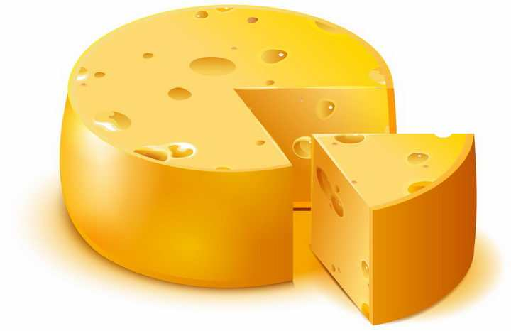 切开一份的多孔酸奶酪美食png图片免抠矢量素材