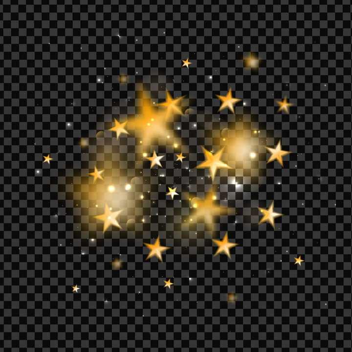 金色五角星发光装饰图片免抠矢量素材