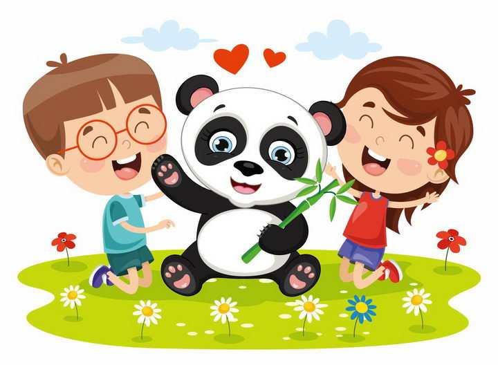 跪在草地上的卡通小朋友和熊猫png图片免抠矢量素材