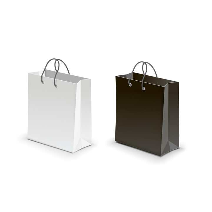 简约白色和黑色的购物袋手提袋图片免抠矢量素材