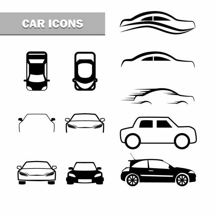黑色线条风格汽车轮廓png图片免抠矢量素材