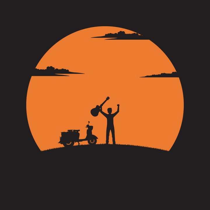 橙色的太阳下举着吉他的年轻人剪影png图片免抠矢量素材