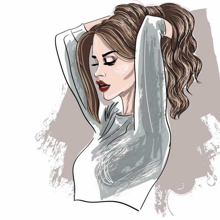 彩色素描风格撩头发美女人像绘画png图片免抠矢量素材