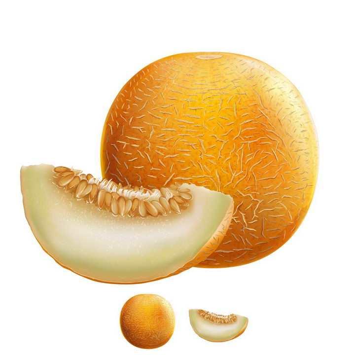 切开的哈密瓜带种子美味水果横切面png图片免抠矢量素材