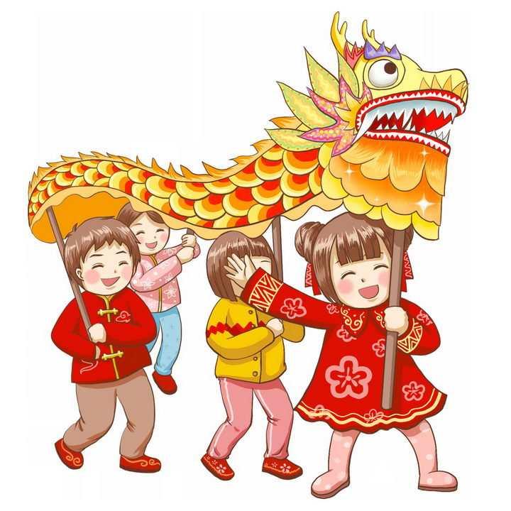 新年春节卡通舞龙表演的孩子png图片免抠素材