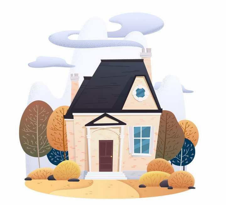 卡通漫画风格炊烟缭绕的房子png图片免抠矢量素材