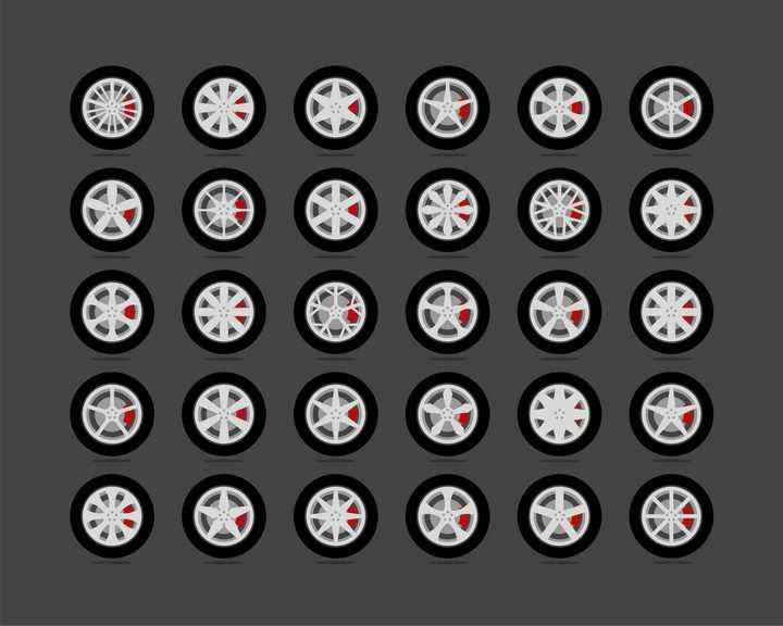 30款汽车轮胎和不同形状的铝合金轮毂红色刹车卡钳侧面图png图片免抠矢量素材