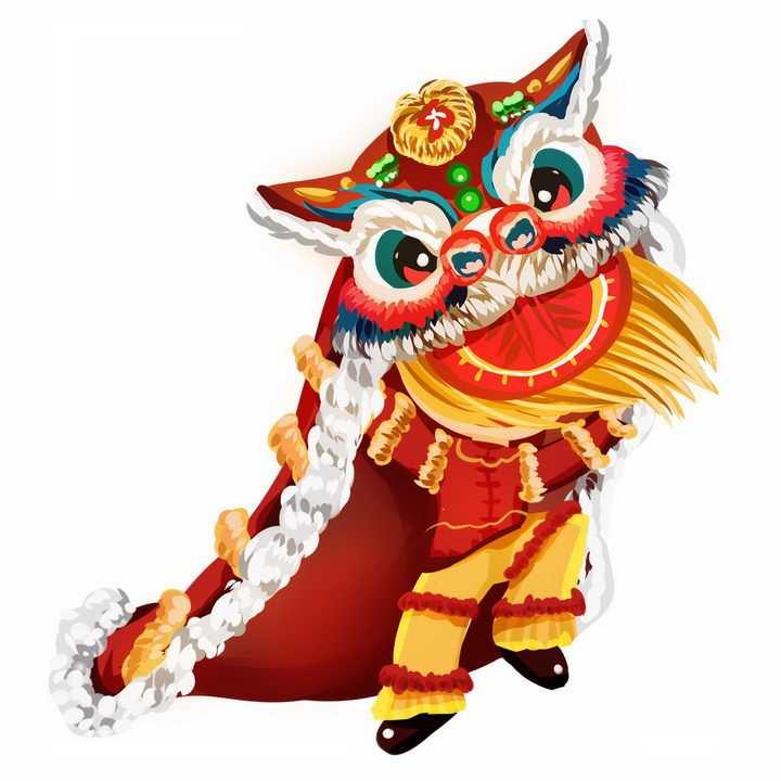 新年春节舞狮子表演活动png图片免抠素材