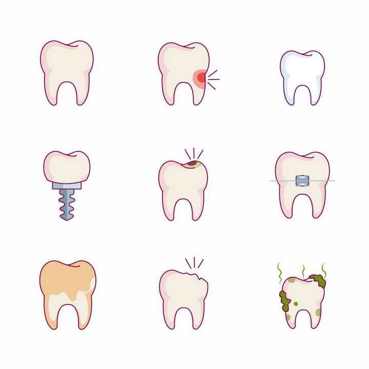 9款蛀牙坏牙牙齿保健健康示意图png图片免抠矢量素材