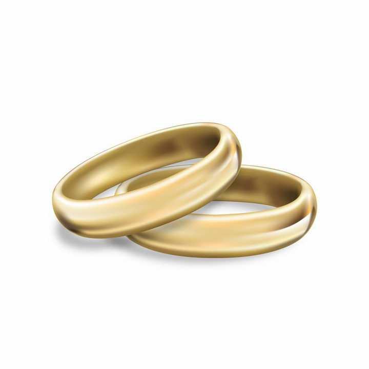 放在一起的简约风格黄金结婚戒指png图片免抠矢量素材