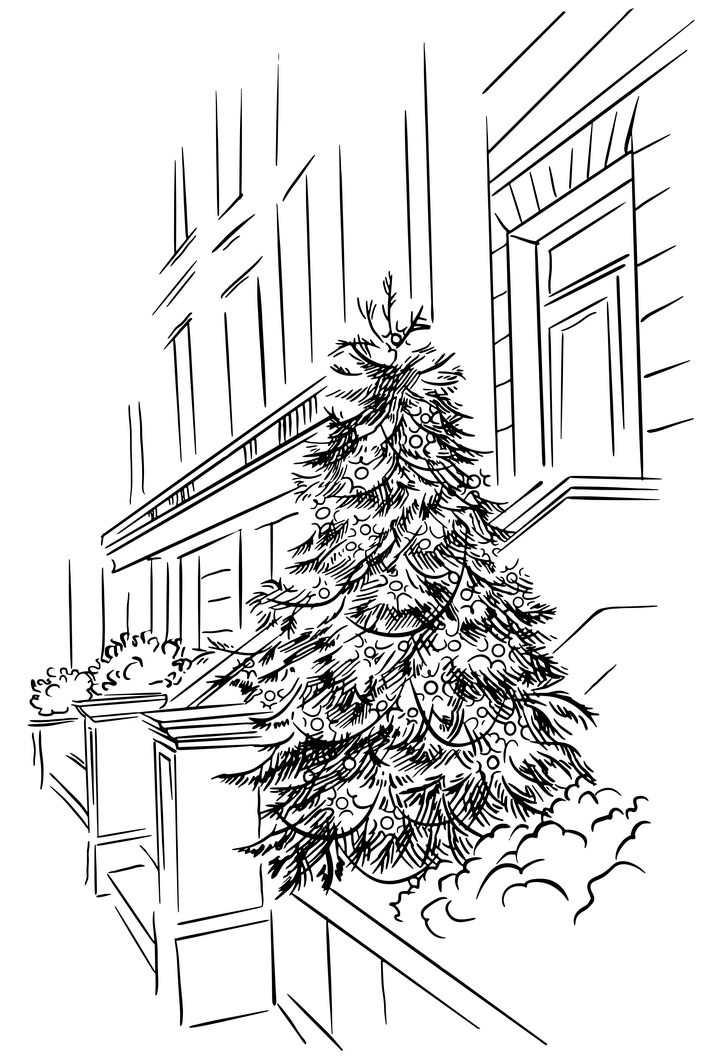 黑色线条手绘风格房子前的圣诞树风景简笔画图片免抠矢量素材