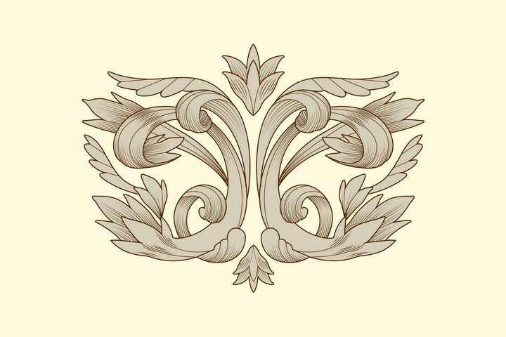 手绘素描风格灰色复古扭曲的树叶纹理装饰图案图片免抠矢量素材