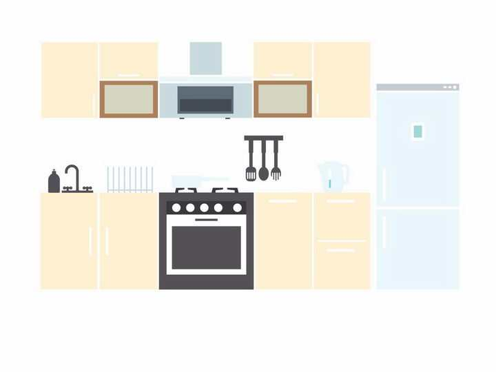 扁平化风格电冰箱集成灶等厨房平面图png图片免抠矢量素材