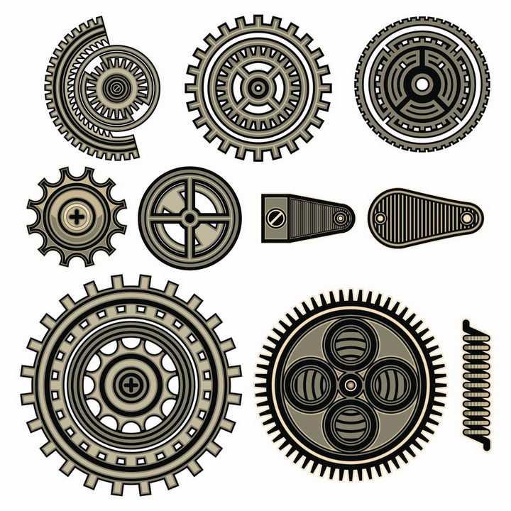 10款蒸汽朋克风格的齿轮和弹簧机械装置png图片免抠矢量素材