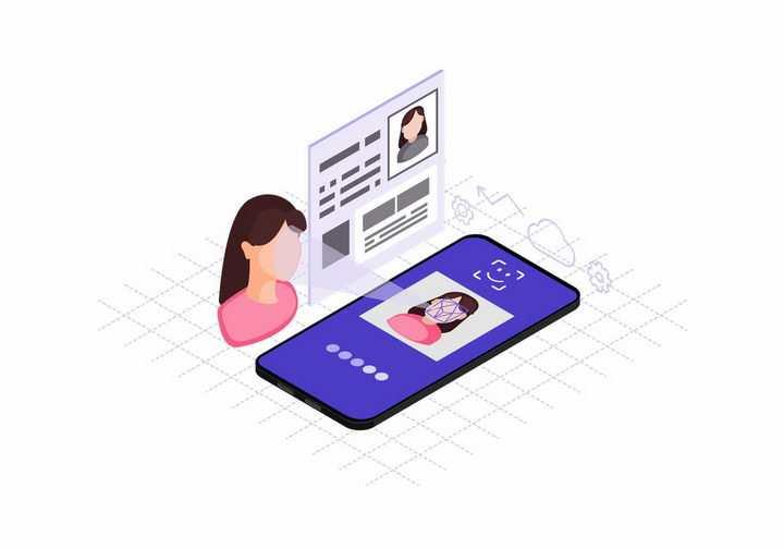 2.5D风智能手机人脸识别认证技术png图片免抠矢量素材