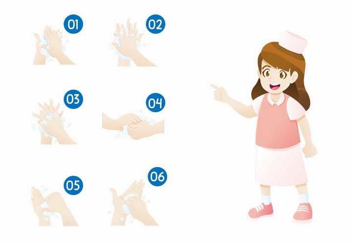 卡通女孩洗手流程步骤图png图片免抠矢量素材